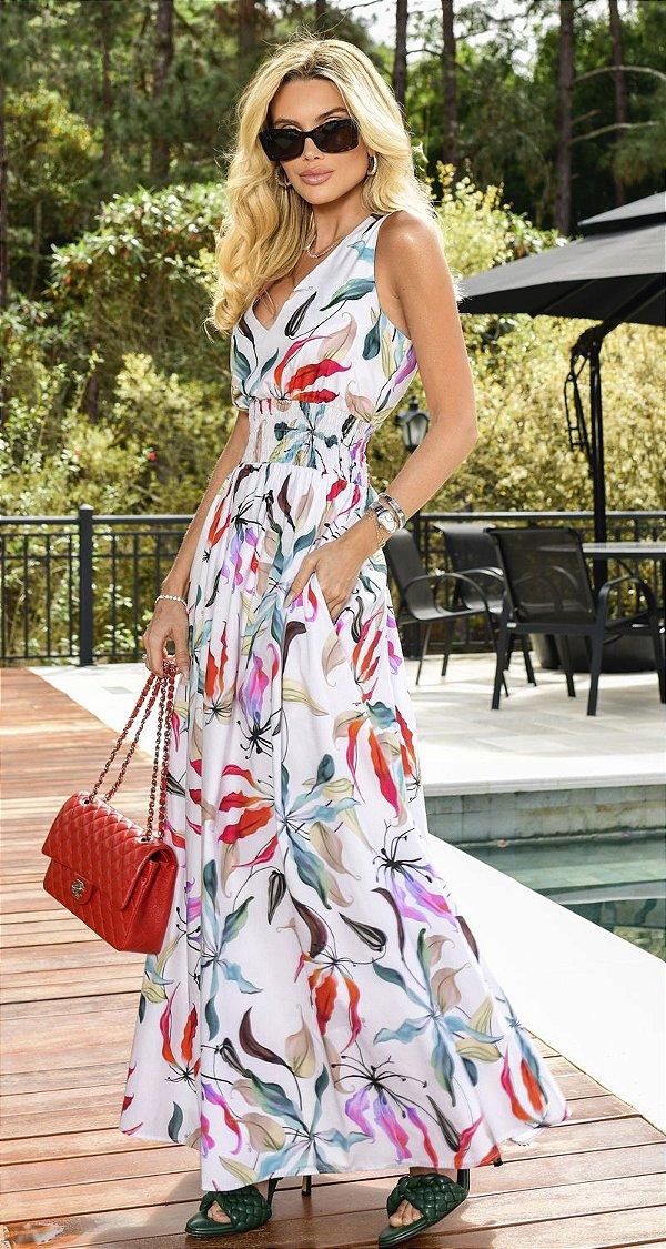 Vestido Floral c/ Franzido e Bolsos Los Angeles | NEXT STOP BLESSED