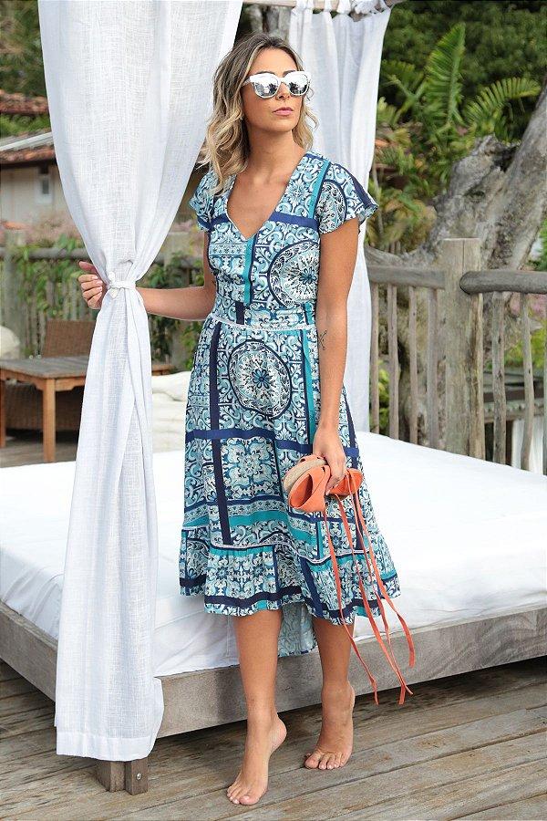 Vestido Mid Estampa Azulejo