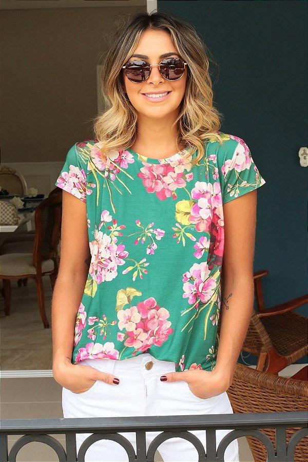 ESPECIAL SALE   Blusa T-shirt Flores Verde