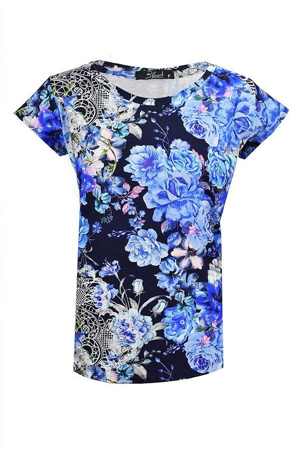 SALE | TShirt Estampa Rosas Azul