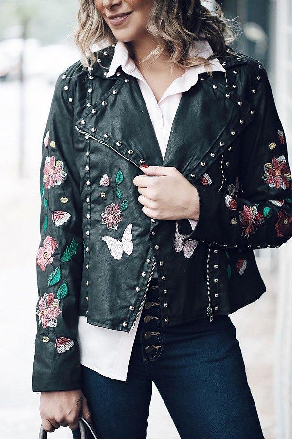 Jaqueta Sarja Borboleta e Flor