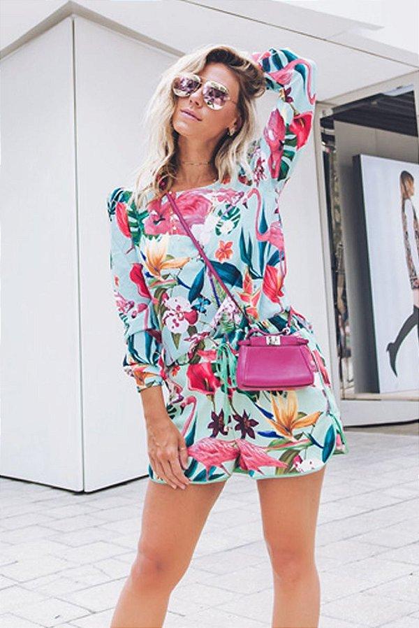 LANÇAMENTO | Conjunto Shorts/Bata Estampa Folhagem Flamingo