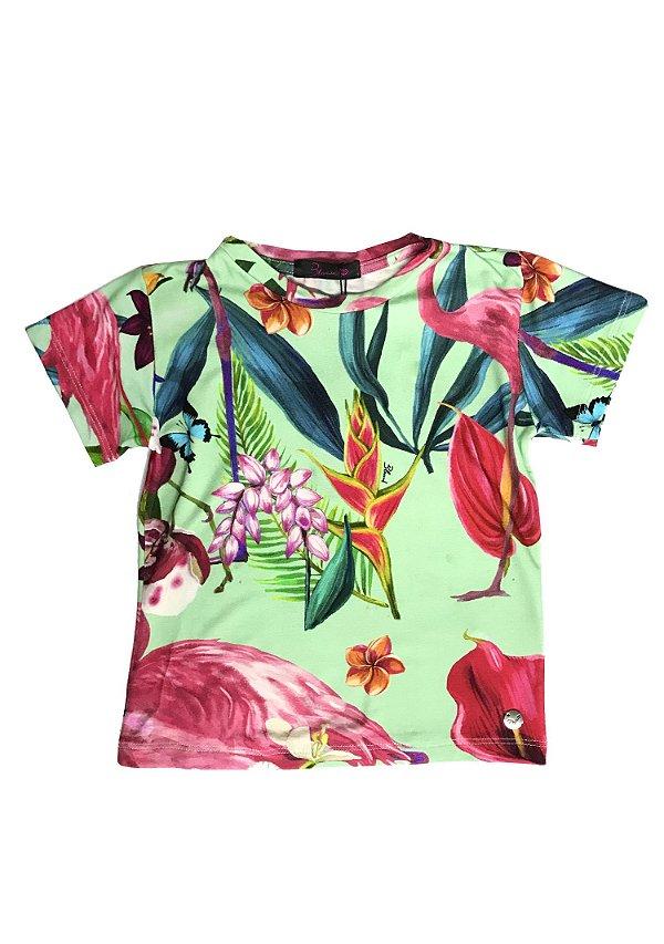 Blusa Estampa Folhagem Flamingo Blessinha