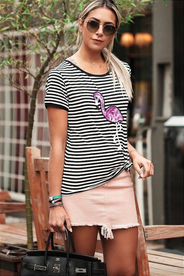 LANÇAMENTO | Blusa Listrada Flamingo Bordado