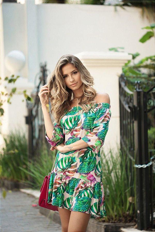 SALE | Vestido Cigana Estampa Folhagens Fundo Rosa