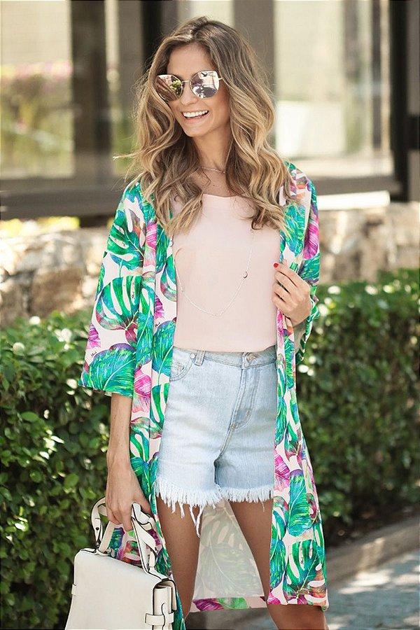 LANÇAMENTO | Kimono Estampa Folhagens Fundo Rosa