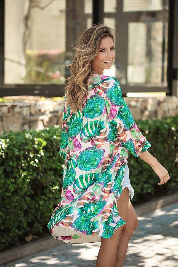 SALE | Kimono Estampa Folhagens Fundo Rosa