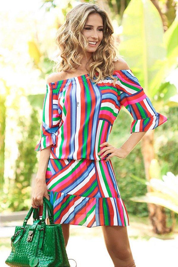 SALE | Vestido Cigana Estampas Listras Geométricas