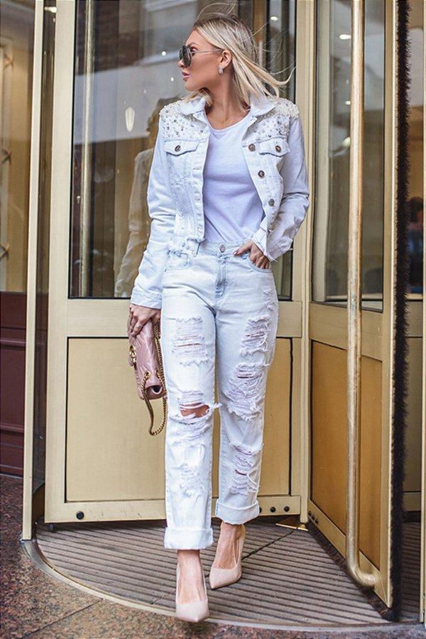 PARIS COLLECTION | Calça Jeans Claro Rasgos