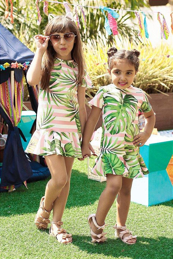 SALE| Vestido Blessinha Estampa Havaí Listrada
