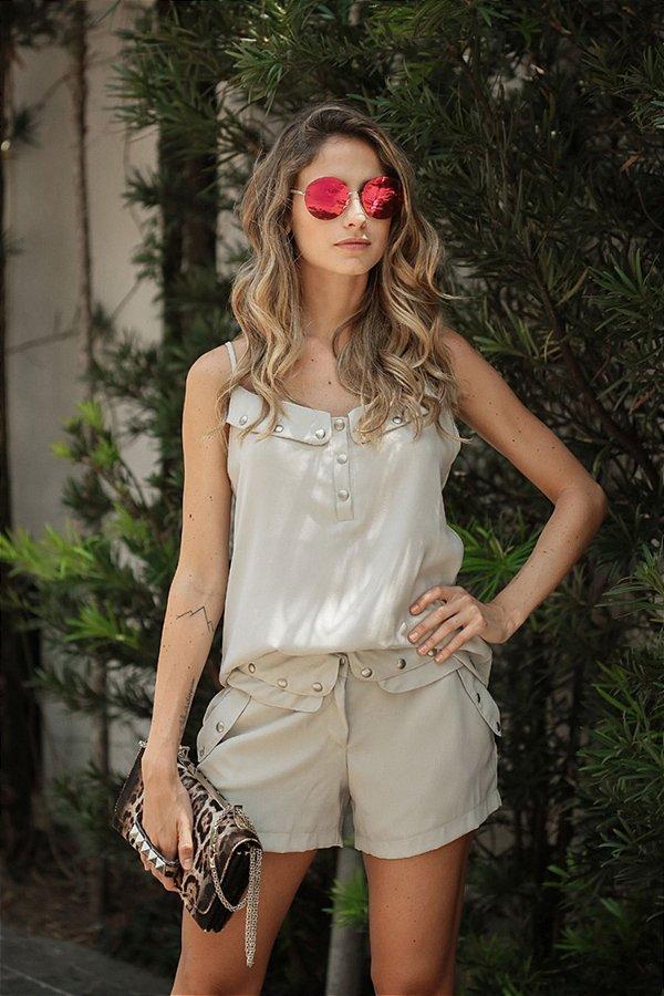SALE | Conjunto Regata/Shorts Detalhe Tachas