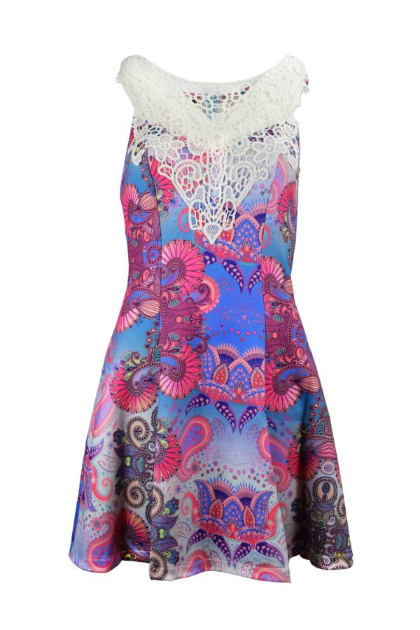 OUTLET| Vestido Detalhe Guipir Estampa Pink