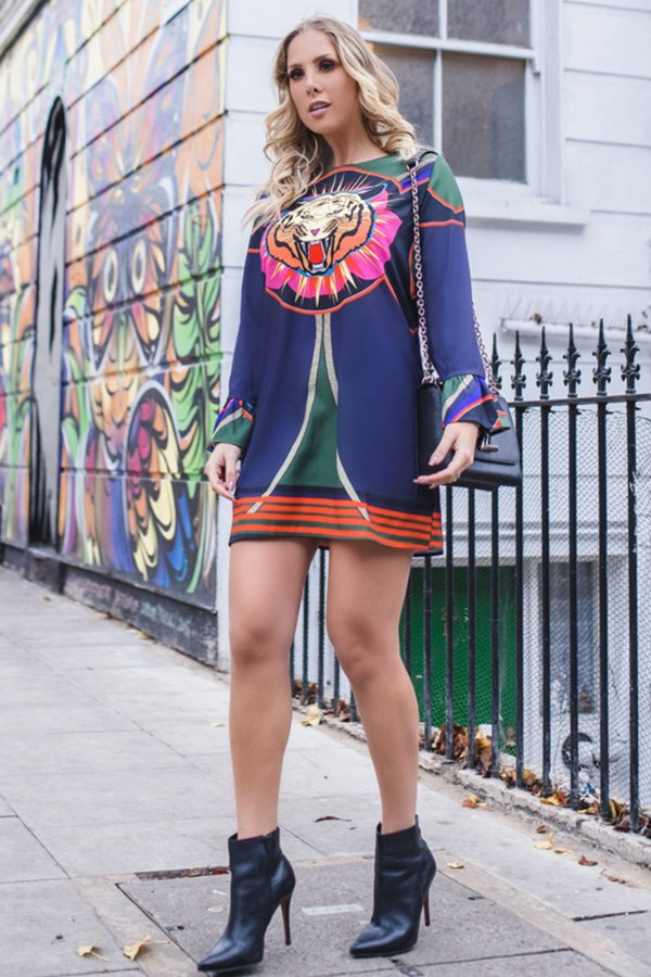 LONDON COLLECTION   Vestido Estampa Tigress