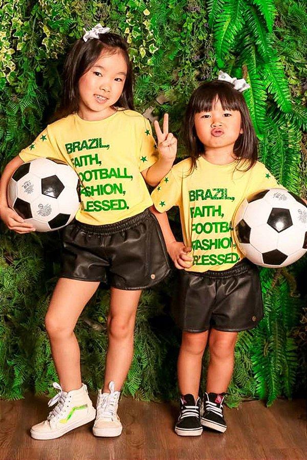 WORLD CUP | T-shirt Blessinha Bordado Brazil Faith