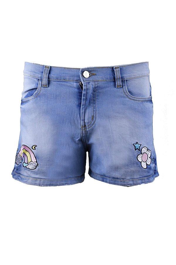 BLESSED UNICÓRNIO | Shorts TEEN Jeans Bordado Arco-íris