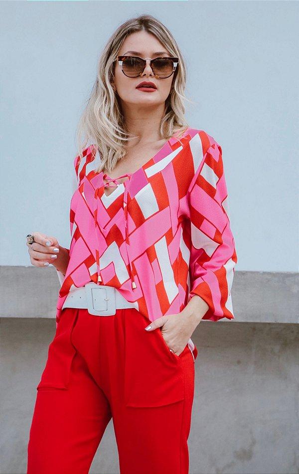 SPRING PREVIEW   Camisa Geometric Pink Amarração
