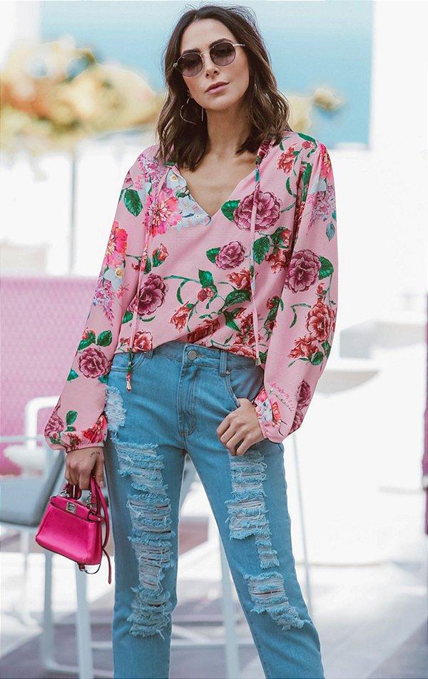 ESPECIAL SALE | Camisa Pink Flowers Amarração