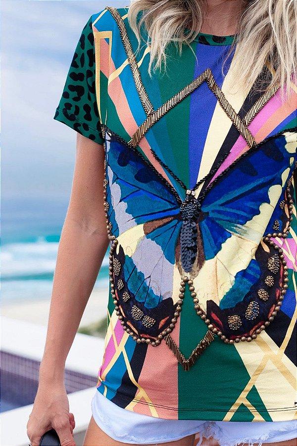 SPRING PREVIEW   Blusa Estampa Butterfly Jaguar Bordada