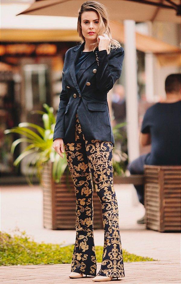 OUTLET | Calça Flare Estampa Dourada