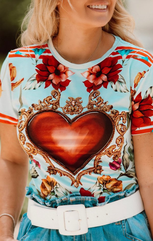 TULUM COLLECTION | Blusa Flower Heart Bordado