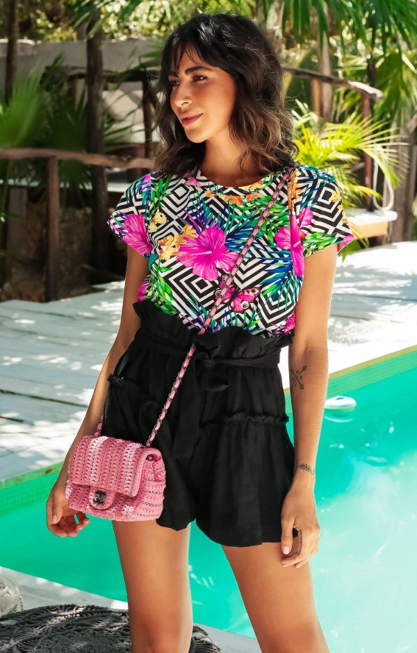 TULUM COLLECTION | Blusa Estampa Flowers Butterfly