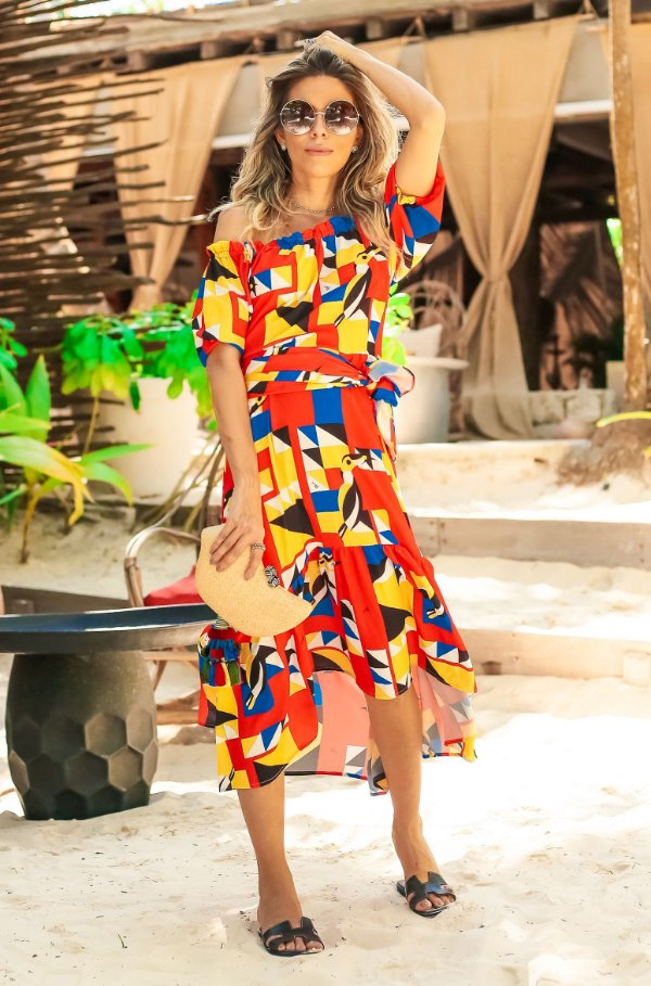 SUMMER PARADISE | Vestido Cigana Estampa Toucan Geometric