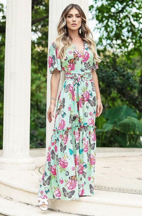 SUMMER PARADISE | Vestido Longo Amarração Butterfly Flowers