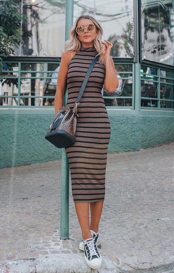 URBAN STYLE | Vestido Canelado Midi Listrado