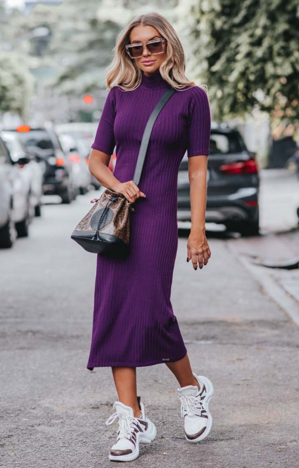 URBAN STYLE | Vestido Gola Malha Canelado Violet