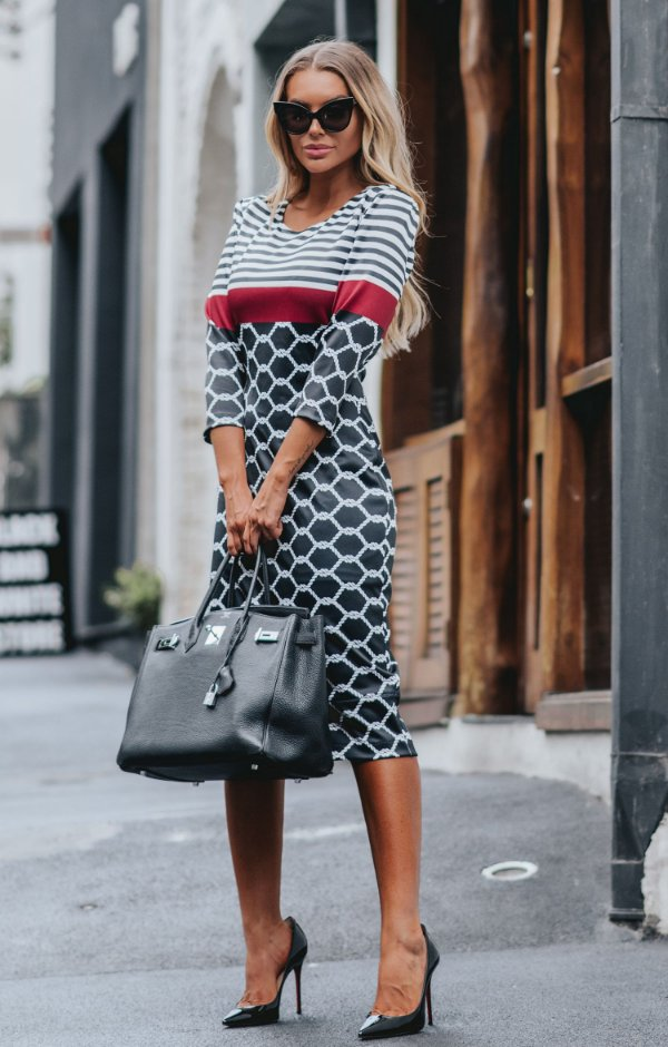 URBAN STYLE | Vestido Midi Estampa Stripes Chain