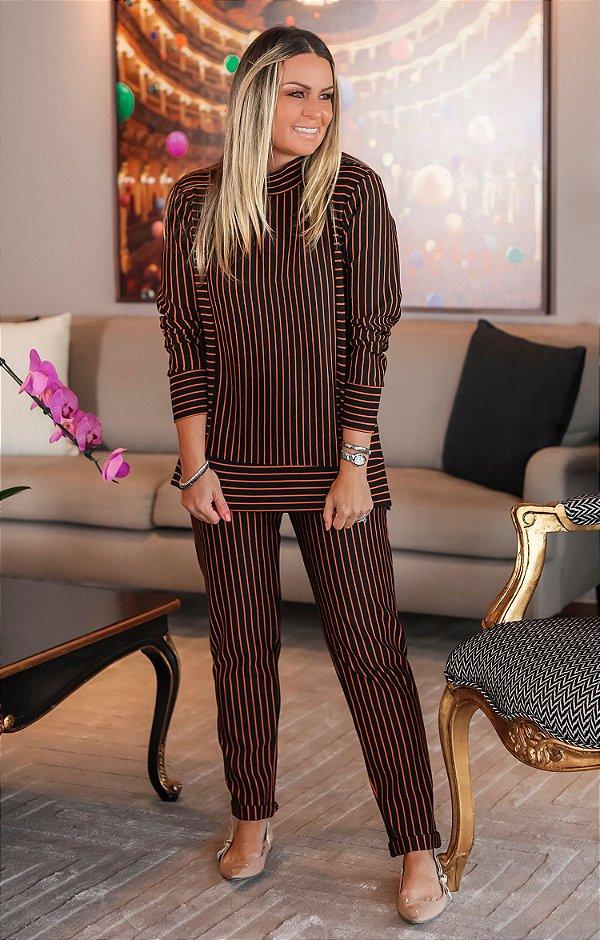 Conjunto Lorraine Listras Caramel | L'AMOUR COLLECTION