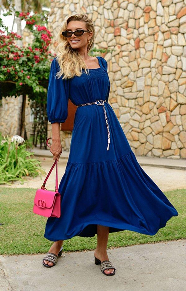 Vestido Cannes Midi Azul | RIVIERA FRANCESA