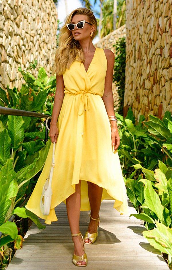 Vestido Hélene Midi Amarelo   RIVIERA FRANCESA