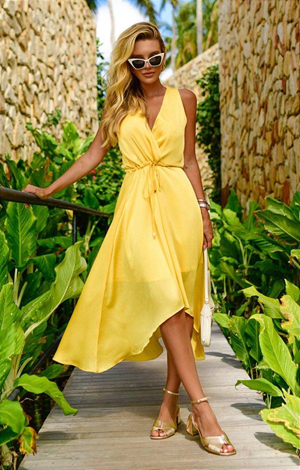 Vestido Hélene Midi Amarelo | RIVIERA FRANCESA