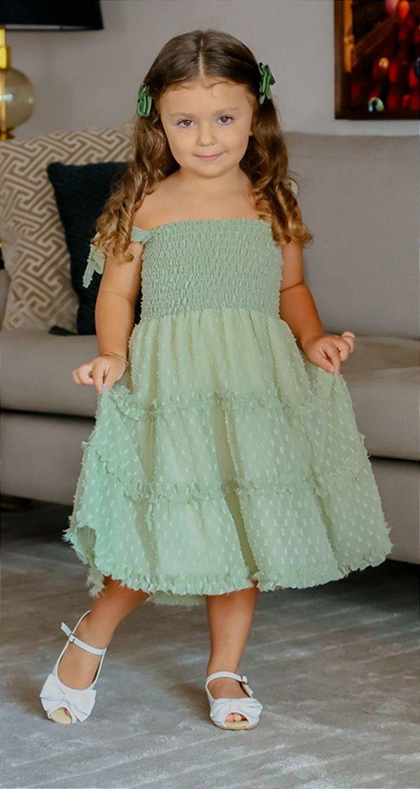 Vestido Infantil Blessinha Fantine Verde | RIVIERA FRANCESA