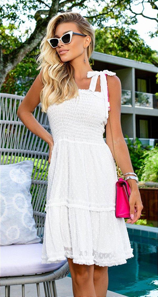 Vestido Curto Fantine Branco | RIVIERA FRANCESA