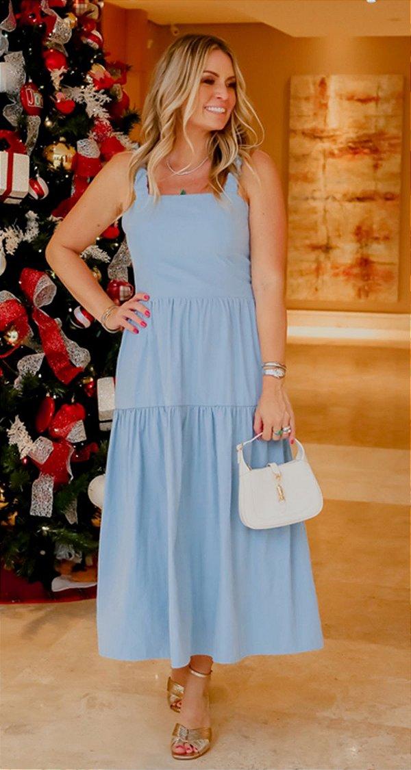 Vestido Midi Adeline Azul   RIVIERA FRANCESA