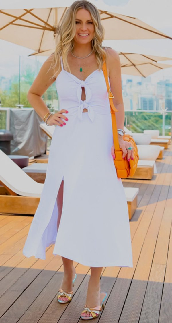Vestido Anelise Laço Frontal Branco   RIVIERA FRANCESA