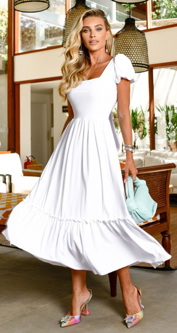 Vestido Midi Adrien Branco | RIVIERA FRANCESA