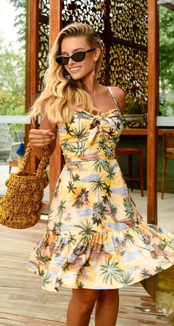 Vestido Curto Alexandrina Amarelo | RIVIERA FRANCESA