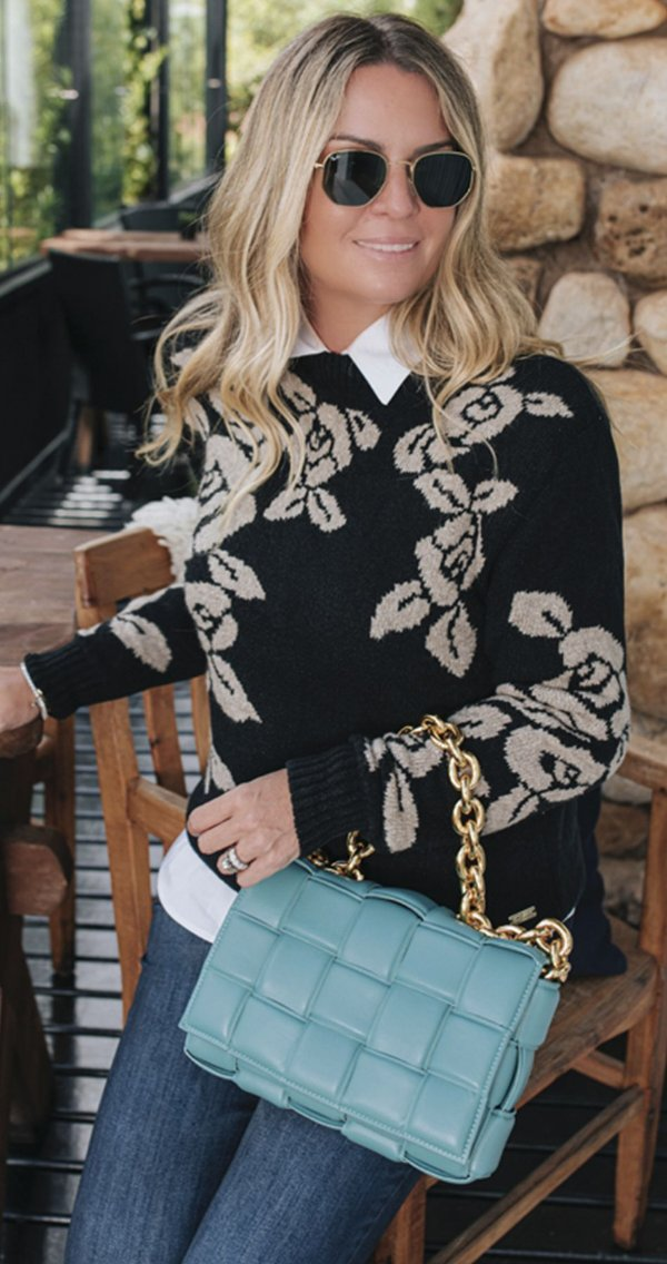 Blusa Tricot Floral Helen Black | WINTER Blessed