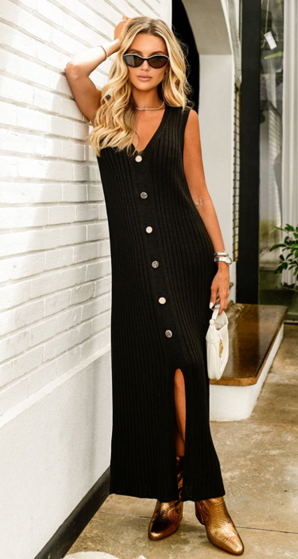 Vestido Tricot Fenda Canelado Fabíola | DNA BLESSED