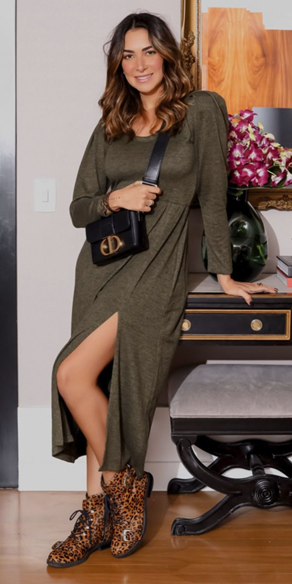 Vestido Midi Tricot c/ Fenda Carmem | WINTER BLESSED