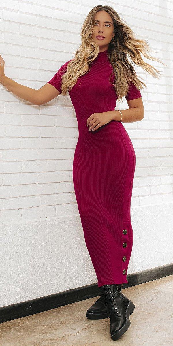 Vestido Midi Tricot Canelado Gabriela | DNA BLESSED