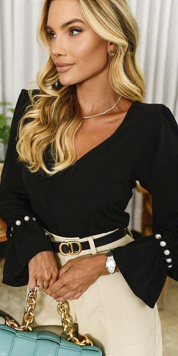 Blusa Malha Basic Pérolas Regina | WINTER BLESSED