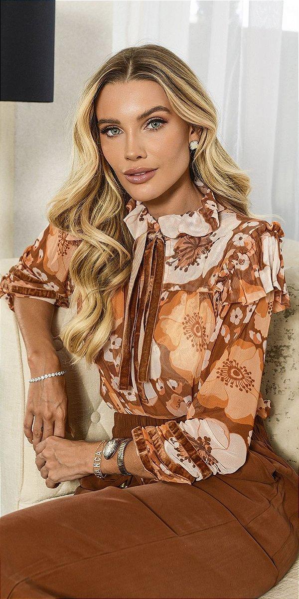 Blusa Detalhe Veludo Margareth   WINTER BLESSED