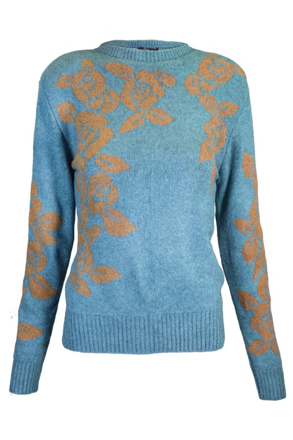 Blusa Tricot Floral Helen Turquesa| DNA Blessed
