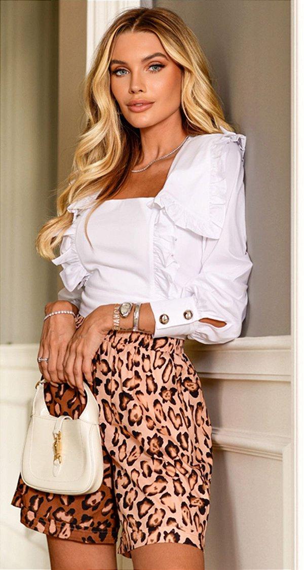 Camisa Babado Tricoline Cropped Branca Raquel | WINTER BLESSED