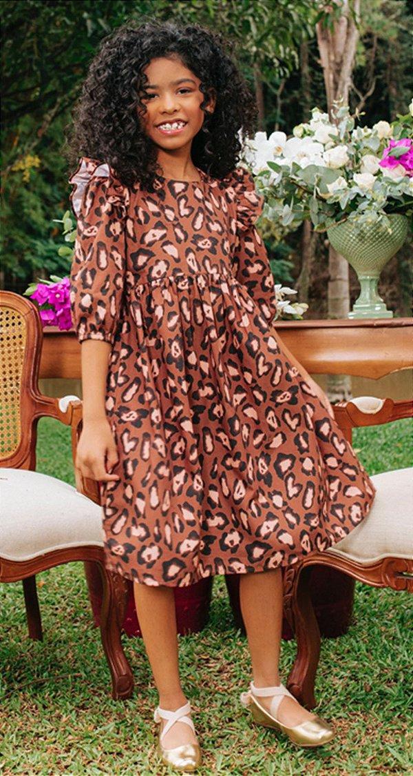 Vestido Blessinha Tricoline Onça Karina | DNA BLESSED