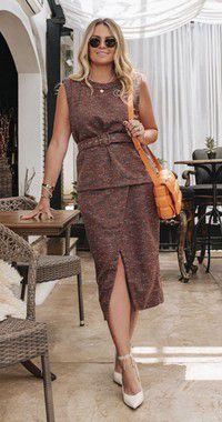 Saia Tweed Amanda C/ Fenda Frontal | DNA BLESSED